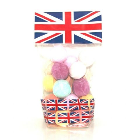 20 x Mini Bath Marbles Fizzers Union Jack Gift Bag Bath Bubble & Beyond 200g